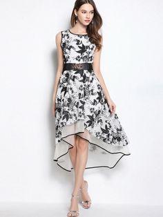 White Organza Asym Women's Maxi Dress