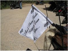 Motorcycle Wedding Just Married Flag by SheFoundHerPrince on Etsy