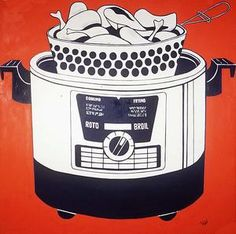 """Roto Broil is a 1961 pop art painting by Roy Lichtenstein. It was one of the consumer goods paintings made in the early that """"made a splash, sold well and immediately polarized the critics. Roy Lichtenstein Pop Art, Arte Pop, Industrial Paintings, Pin Up, Pop Art Movement, Oil Canvas, Edouard Vuillard, Black And White Painting, Famous Art"""