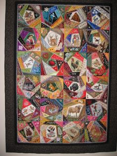 """My Mom's (Geri Hruzek) """"All Creatures Large and Small"""" crazy quilt"""