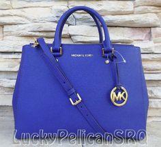 Michael Kors Jet Set Dressy Sutton Large Sapphire Saffiano Satchel Handbag #MichaelKors #Satchel