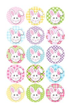 Easter Floppy Ear Bunny Girl With Flowers 1 Inch Circles Collage Sheet Inch JPG Bottlecap Hairbo Bottle Cap Art, Bottle Cap Crafts, Bottle Cap Images, Diy Bottle, Happy Easter, Easter Bunny, Bunny Girls, Image Collage, Girls With Flowers