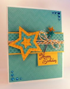 """""""Happy Birthday"""" card made with the """"Lots of Dots"""" by Bethann Erin Silaika and """"All Occasion Tags 2"""" stamp sets by Tami Mayberry for Gina K. Designs, card stock is Gina K Designs Pure Luxury in 120 lb base weight white, torquoise sea and wild dandelion, inks are in Memento Tuxedo Black, Cantaloupe and Gina K. Designs Color Companion ink in Ocean mist."""