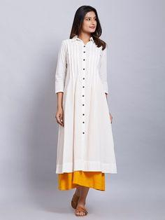 White Cotton Jacket with Yellow Slip - Set of 2 Plain Kurti Designs, Kurta Designs, White Kurtis, Indigo Dress, Cotton Anarkali, Kurti Patterns, Islamic Clothing, Party Wear Dresses, Summer Outfits Women