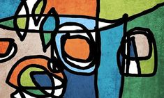 Vibrant Colorful Abstract-0-40 Mid-Century Orange Blue Green
