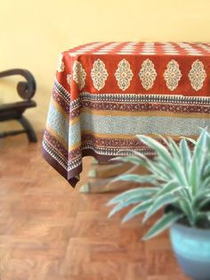 Spice Route ~ Holiday Red Decorative Indian Print Tablecloths     I love everything Saffron Marigold. This company can do no wrong...