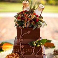 The three-tiered square cake was topped with real flowers and two gum paste owls.  I love this, but not for my wedding