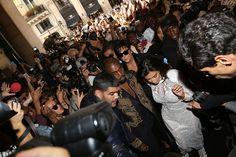 Kris Jenner, Kanye West with wife, Kim Kardashian in Paris 2014 for their wedding were swarmed by Paparazzi - Elle