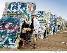 Cowboy at the funky Cadillac Ranch, U.S. Route 66, Amarillo, Texas. Photo by Carol M. Highsmith. Carol M. Highsmith Archive, Library of Congress, Prints and Photographs Division.