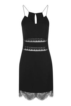 **Ali Black Mini Dress With Lace and Mesh Inserts by WYDLR