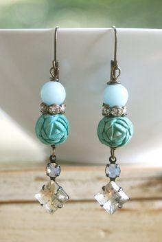 Lauren.robin's egg blue roserhinestone drop by tiedupmemories, $28.00
