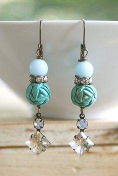 Lauren.robin's egg blue rose,rhinestone drop earrings. Tiedupmemories