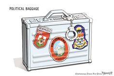 MItt's political baggage. By Clay Bennett #GoComics #PoliticalCartooon #Taxes #Politics #Romney