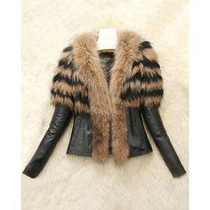 Elegantný Turn-Down Collar s dlhým rukávom umelé kožušiny zdobené PU kožená bunda pre ženy