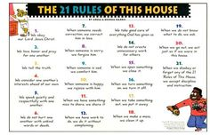 Indispensable Kid Rules Every Parent Should Follow The 21 Rules Of This House by Gregg Harris - A WONDERFUL way to be ...