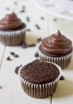 paleo chocolate cupcakes ngredients(Makes a dozen cupcakes): cup Tablespoons coconut flour 4 eggs 2 egg whites cup cocoa powder cup cane or palm sugar 1 cup coconut milk teaspoon baking soda 1 teaspoon vanilla extract Gluten Free Sweets, Paleo Dessert, Healthy Sweets, Dairy Free Recipes, Whole Food Recipes, Delicious Desserts, Yummy Food, Flour Recipes, Baking Recipes