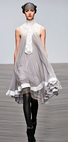 Grey and white dressing gown for Sansa Stark, Bora Aksu Fall 2013