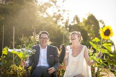 Love this pic....laughter and a vegie garden, my kind of wedding!