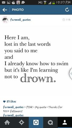 I remember drowning in pain
