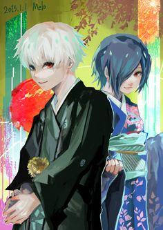 """Happy New Year!"" — Kaneki Ken (金木 研) & Kirishima Touka (霧嶋 董香), Tokyo Ghoul Kaneki Y Touka, Ken Kaneki Tokyo Ghoul, Tokyo Ghoul Wallpapers, Happy New Year 2016, Image Manga, I Love Anime, Anime Ships, Photo Viewer, Anime Couples"