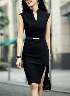 Shop zenpp black slit sheath dress here, find your knee length dresses at dezzal, huge selection and best quality. Professional Outfits, Office Outfits, Work Outfits, Casual Office, Office Attire, Office Wear, Sexy Work Outfit, White Shirt Outfits, Black Dress Outfits