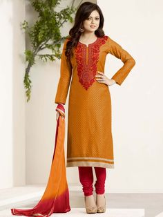 Grandiose orange color printed kameez invented on chanderi with resham, zari work. Item Code : SLHD85004 http://www.bharatplaza.com/new-arrivals/salwar-kameez.html
