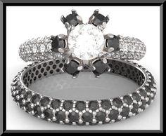 black diamond jewelry sets   Made Black Diamond Wedding Ring Set.Halo Engagement, Black Diamond ...