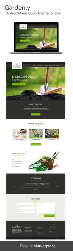 Gardenly is a clean and simple Divi child theme built for Landscaping Companies, Lawn Services Business, Groundskeepers, Landscape Architects, Gardeners and companies that offer related services – but it can be easily adapted for any type of service business. Gardenly features a one click demo content installation to get your site looking like the demo in no time.  Visit https://elegantmarketplace.com/product/gardenly/ to learn more about this responsive theme for WordPress.