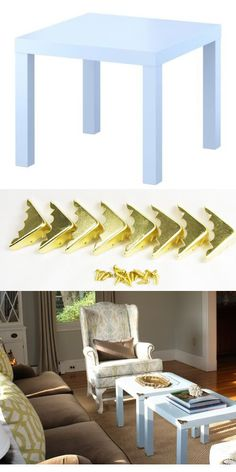 Add brass corners ($9 for a set of eight from Amazon) to a coffee table. | 24 Easy Ways To Make Your Furniture Look More Expensive