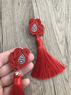 Red romantic soutache long earrings with tassels mothers day | Etsy