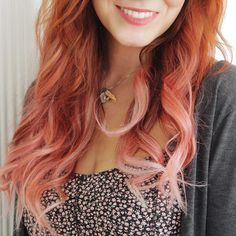 Redhead with pink ombre