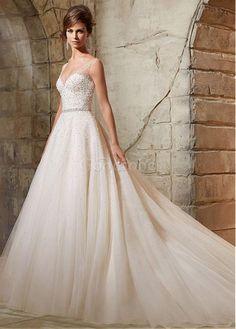 Robe de mariée avec manches en tulle de col en v perle naturel - photo 1