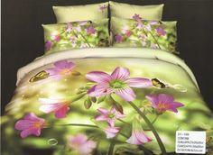 AlyShop: Lenjerie pentru pat dublu din bumbac satinat verde fistic imprimata cu flori ciclam