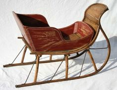 "vintage sleigh photos | 327: antique child's sleigh - 33"" long : Lot 327"