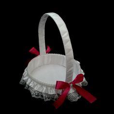 CE_57 Cesta Blanca Futsia # bodas para arras anillos o petalos.