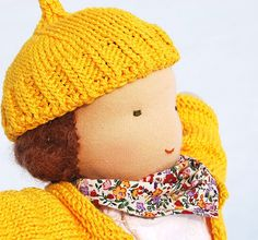 Girl Waldorf doll with sun yellow pullover and hat 13 by Juddolls, $120.00