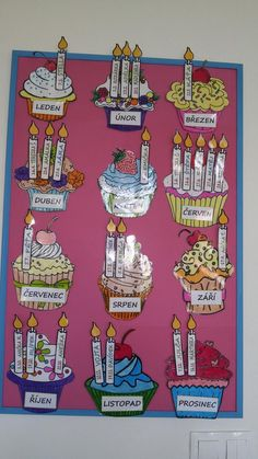 Nástěnka narozenin🎁 Preschool Classroom Decor, Classroom Fun, Classroom Activities, Birthday Charts, Birthday Chart For Preschool, Birthday Display, Classroom Birthday, Class Displays, Educational Crafts