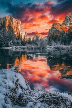 A winter sunset in Yosemite