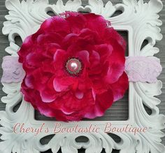 Deep Red & Red/Green Peony Flower with or feathers by CherylsBowtasticBows