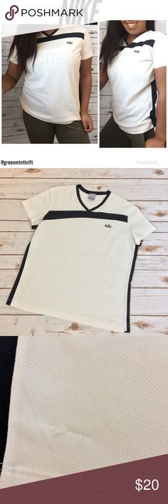"Nike | Black & White Tee Size XL ⚪️All items are inspected for imperfections and damage ⚪️Any flaws will be photographed and documented in item description, please read before purchasing!  🌺🌱HAPPY POSHING!🌱🌺  Great used condition! Such a cute top for active wear or casual. There are a few snags in the material (shown). Approximate measurements (taken with garment lying flat) pit to pit: 21""  Length: 25"" Nike Tops"