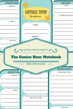 Genius Hour Part 3 - The Genius Hour Notebook- Free download
