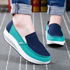 Canvas Color Blocking Sport Running Rocker Sole Casual Outdoor Shoes