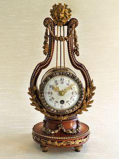 French Lyre clock with Bronze Ormolu