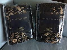 PAIR Black Velvet Ralph Lauren std Shams W/Gold Embroidery Similar New Bohemian! #RalphLauren
