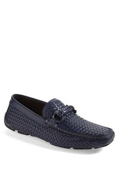 Salvatore Ferragamo Blue 'Round' Woven Leather Driving Shoe | Nordstrom
