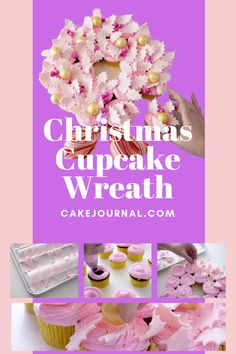 Looking for an elegant Christmas centerpiece idea that also happens to be edible. Elegant Christmas Centerpieces, Christmas Cupcakes Decoration, Christmas Tree Cupcakes, Healthy Christmas Treats, Christmas Treats For Gifts, Cupcake Wreath, Baking Accessories, Yummy Cupcakes, Cake Decorating Tips