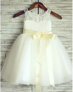 >> Click to Buy << New Cheap Flower Girls Dress White Ivory Tulle Lace with Sash Knee Length 2017 Custom Made Girls Dresses  #Affiliate