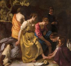 Oil Painting: Diana and her Companions by Johannes Vermeer, Location: Mauritshuis, The Hague. Size of the original painting: x cm x 105 cm)Johannes, Jan or Johan Vermeer (Dutch pronunciation: [v? baptized in Delft on 31 Octo Johannes Vermeer, Delft, National Gallery Of Art, Rembrandt, Caravaggio, Vermeer Paintings, La Haye, Dutch Golden Age, Diana