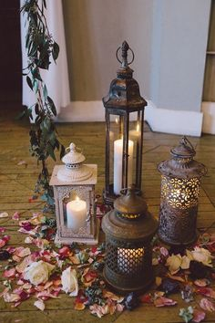 Lanterns, candles, and rose petals | Image by Loreto Caceres Photography