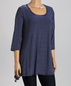 Another great find on #zulily! Navy & White Dot Sidetail Tunic - Plus #zulilyfinds